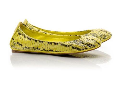 8213347aa Tory Burch  Eddie Yellow Snake Print Ballet Flats