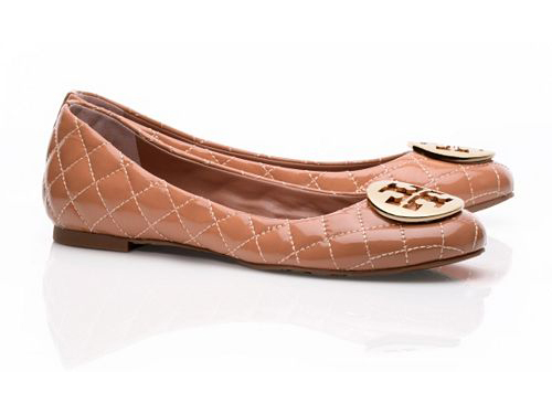 e68354a5b593 Tory Burch  Quinn Quilted Leather Brown Ballet Flats