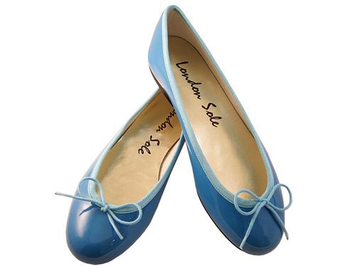 London Sole Best Blue Bow Ballet Flats