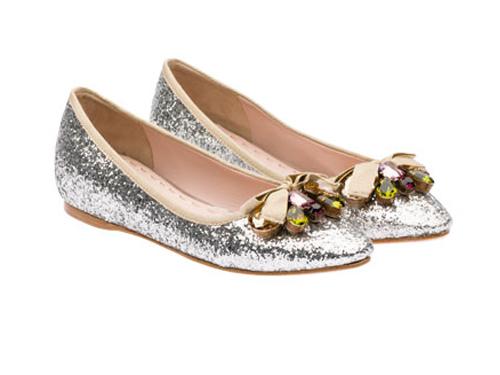 3873acf3d9ec Miu Miu  Swarovski crystal Silver Glitter Embellished Bow Pointed Toe  Ballet Flats